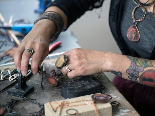 Gina Gentile-Moeller has been a sculptor, a tattoo artist, a photographer, a graphic designer, and now fine tunes her abilities as a maker of metal jewelry. 5/25/16