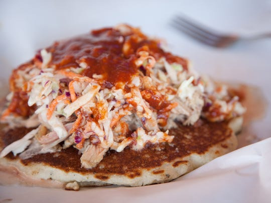 Pulled pork shoulder with slaw on cornbread at Martin's