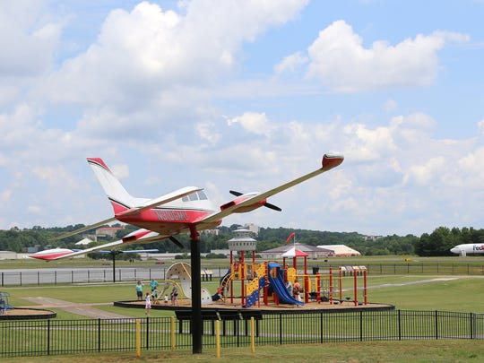 Runway Park at Greenville Downtown Airport features aircraft-themed play structures.
