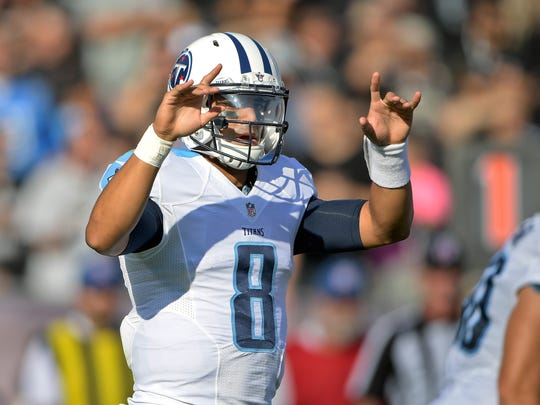 Tennessee Titans quarterback Marcus Mariota, shown here against the Oakland Raiders, will face the Colts on Oct. 23 and Nov. 20.