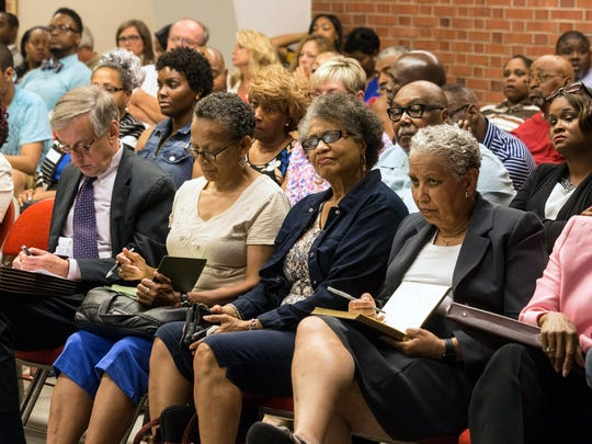 The Van Hoose Education Center was packed on Tuesday as plans for a Males of Color Academy in Louisville were discussed by the JCPS Board. 6/13/17