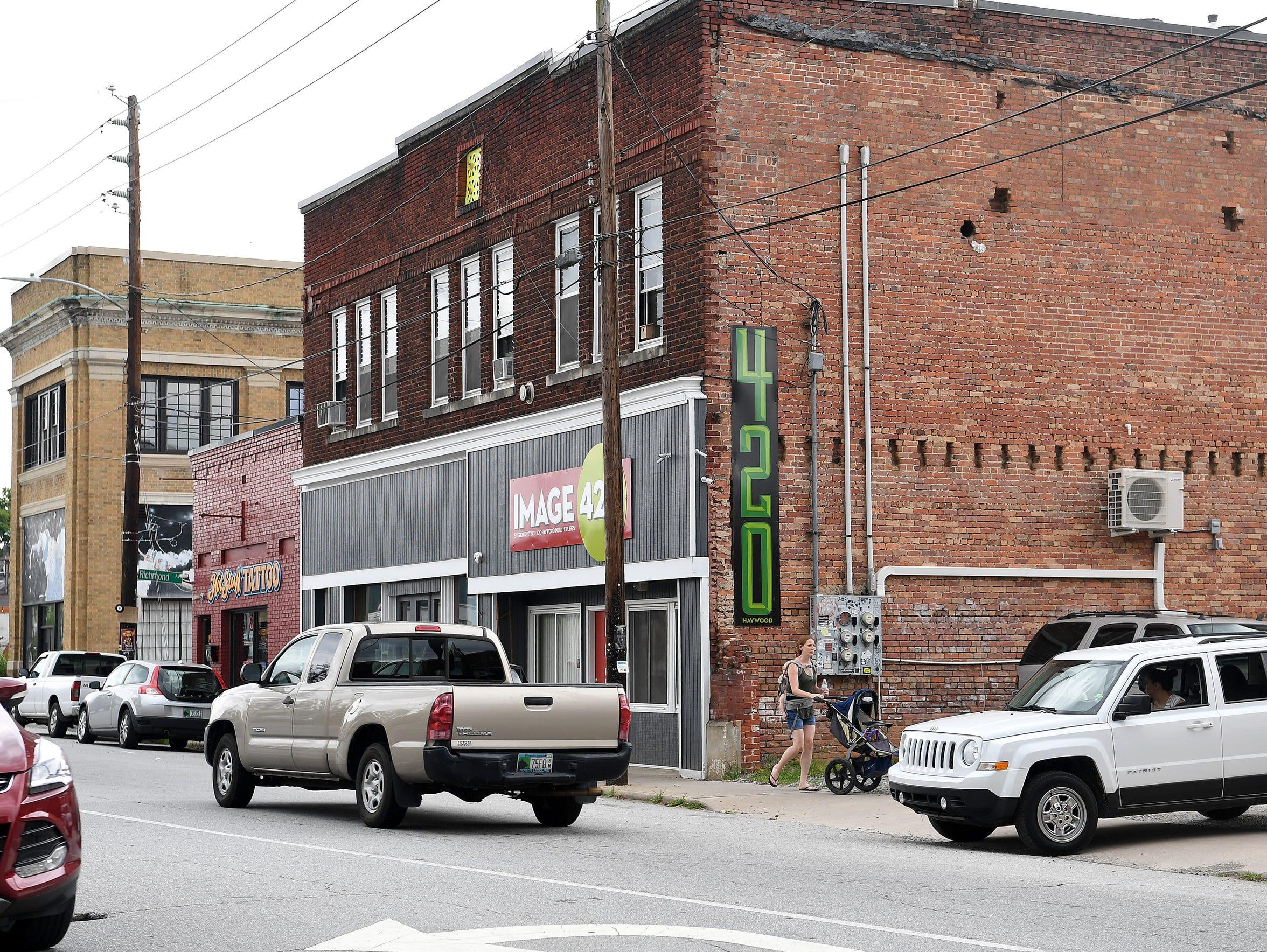 East West Asheville along Haywood Avenue.