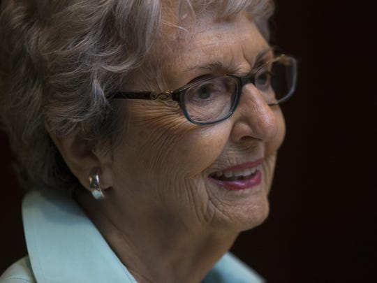 Wilma Baker, 90, a member of the over 90s lunch bunch, at the Capital Grille in Phoenix in June 2017.