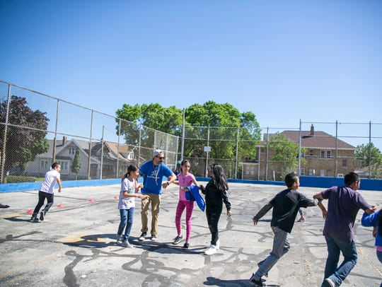 Tag is one of the games Playworks coaches encourage