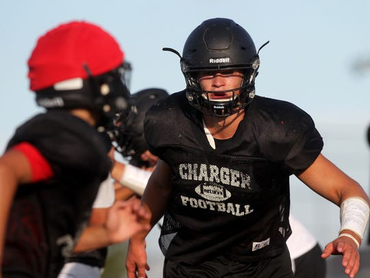 Orion's Logan Lee, an Iowa commit, works on plays during