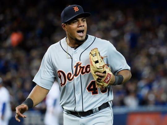 Tigers third baseman Jeimer Candelario reacts after