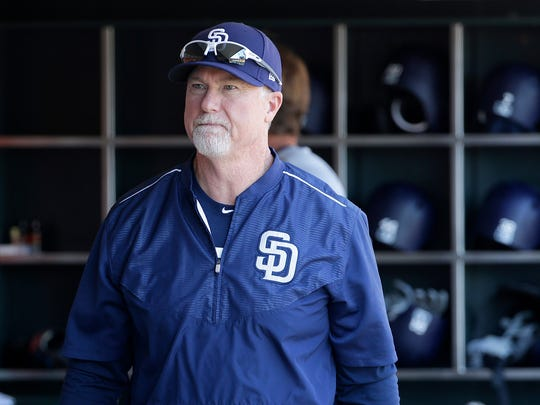 San Diego Padres bench coach Mark McGwire.