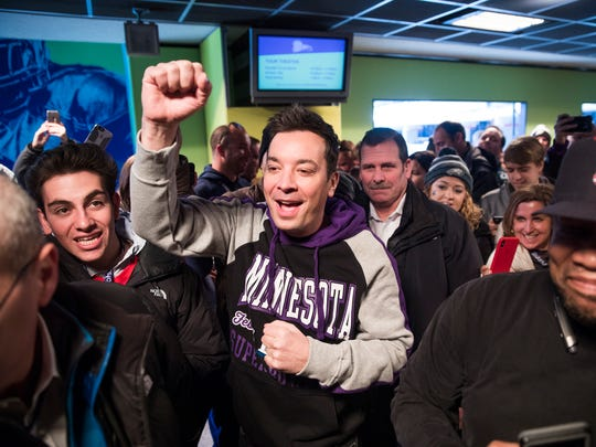 "Jimmy Fallon appears with fans as he does some taping for ""The Tonight Show with Jimmy Fallon"" at the StubHub Live: Field House Super Bowl pregame event at Target Field in Minneapolis on Feb. 4, 2018. The event was free for those who purchased tickets to the Super Bowl on StubHub."