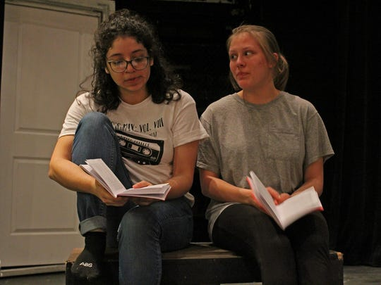 Actors Mya Padilla and Ally Collins '20 rehearse for