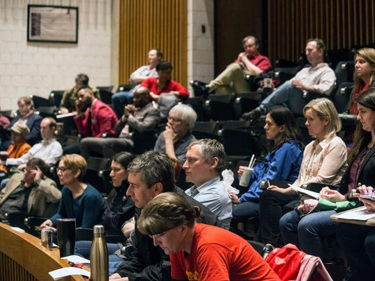 Around 70 professors at the University of Louisville met on Friday morning to discuss House Bill 200, which would make it easier to fire tenured staff if their academic program was eliminated. 3/30/18
