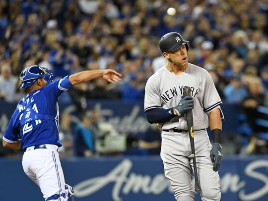 Mar 31, 2018; Toronto, Ontario, CAN; New York Yankees