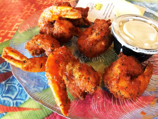 Florida Gulf shrimp, buffalo style, served with blue