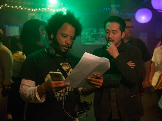Director Boots Riley (left) and actor Steven Yeun work