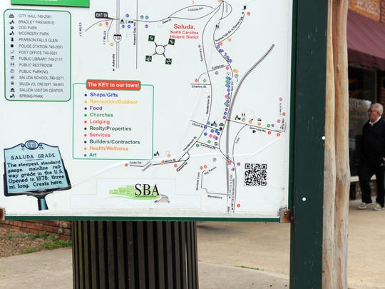 Large signs are displayed in multiple locations around downtown Saluda. The signs list the area's attractions, businesses, churches, historical markers and other services like restaurants and lodging.