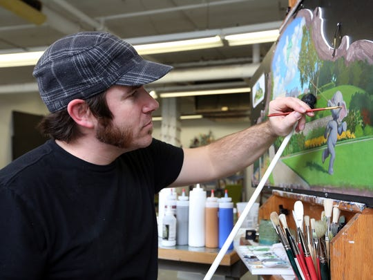 Jonathan Queen of Anderson paints a scene of Ault Park