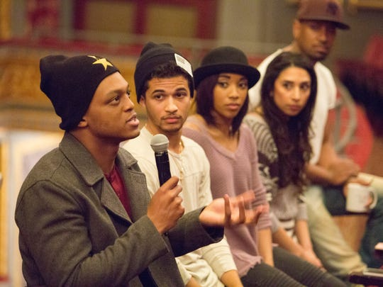 J. Quinton Johnson, and other cast members from Hamilton talk to students after a matinee performance at the Richard Rodgers Theatre on Broadway. Three schools from Paterson, Eastside HS, JFK HS and Panther Academy, attended the show. The Hamilton Project and the Rockefeller Foundation, who offer tickets to those who might normally be unable to buy them, provided the schools with free tickets.