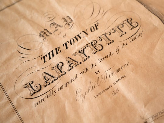 Detail of the first map printed of Lafayette Monday,