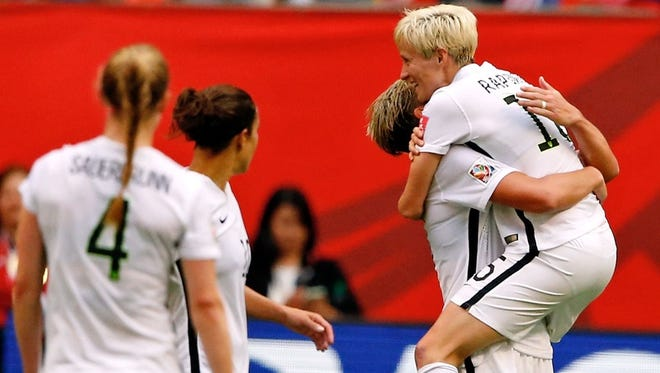 Abby Wambach of the USWNT scores the only goal in a 1-0 U.S. victory over Nigeria.