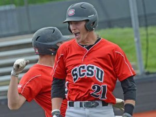 Mitch Mallek (21) led St. Cloud State in batting average and doubles as a sophomore.
