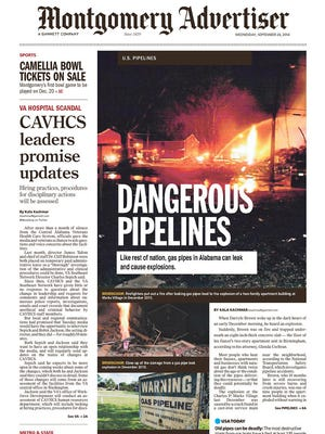 Page 1 of the Montgomery Advertiser featuring the dangerous gas pipes investigation.