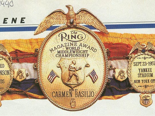 Carmen Basilio's world middleweight belt for defeating