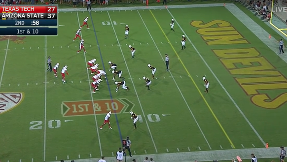 Texas Tech lines up in a four wide receivers set with
