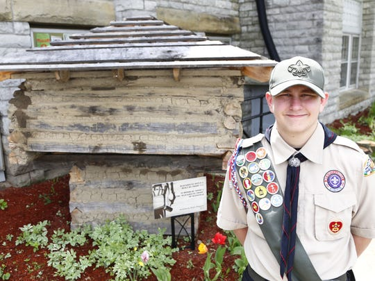 Eagle Scout Tyler Rider, along with his fellow members from troupe #214, helped construct a replica of the Mansfield Blockhouse. The house took two months to build, and is in front of the Church Requel on the Park Avenue West side.