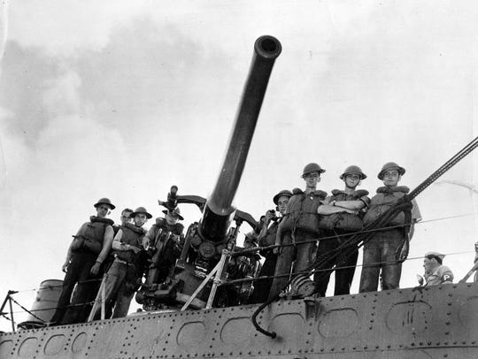 The USS Ward's number three gun and its crew-cited