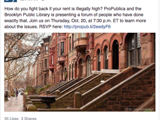 Facebook ad placed by Pro Publica
