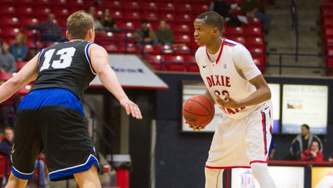 Dixie State forward Mark Ogden faces the Chaminade defense Tuesday, Jan. 5, 2016.