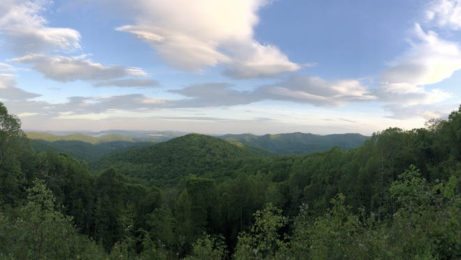 View from the Blue Ride Parkway's Beaver Dam Gap Overlook at mile post 401.7, elevation 3,570 feet, on the evening of May 22.