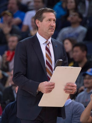 December 16, 2015: Phoenix Suns head coach Jeff Hornacek during the third quarter against the Golden State Warriors at Oracle Arena. The Warriors defeated the Sun 128-103.