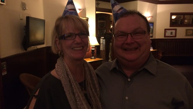 """Curt and Amy Jo Campbell after Friday night's """"Shark Tank"""" watching party at St. Brendan's Inn downtown Green Bay."""