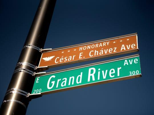 The sign designating Grand River Avenue as Cesar E.