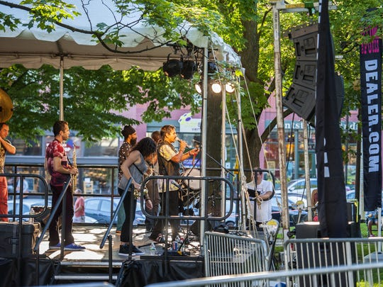 Red Baraat plays a concert in City Hall Park in Burlington