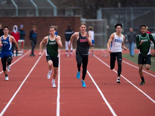 Runners compete in the first 100 meter dash in more