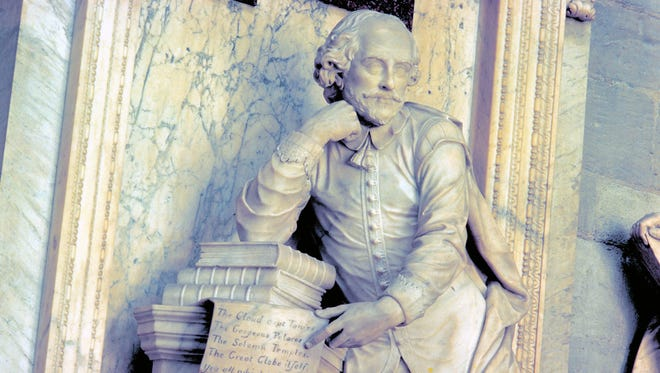 This March 17, 2009 photo provided by VisitBritain shows a monument to William Shakespeare in the Poets Corner at Westminster Abbey in London.