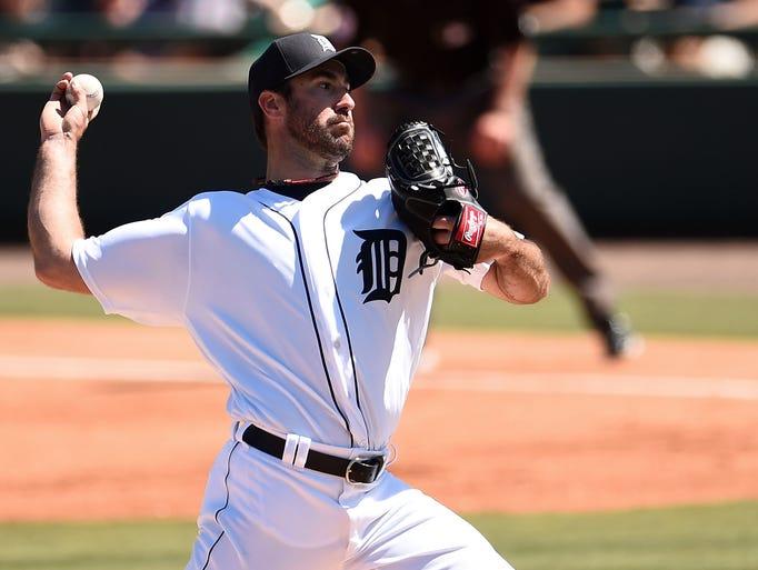 Detroit Tigers pitcher  Justin Verlander pitched three