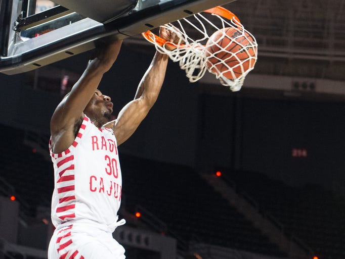 Johnathan Stove dunks the ball for two in UL's exhibition