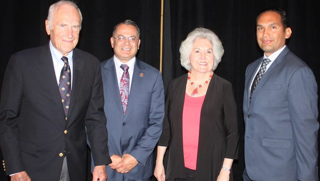 From Left to Right Clay Klein, Riverside County 4th District Supervisor V. Manuel Perez, Roberta Klein, and Superintendent of Coachella Valley Unified School District Dr. Edwin Gomez.