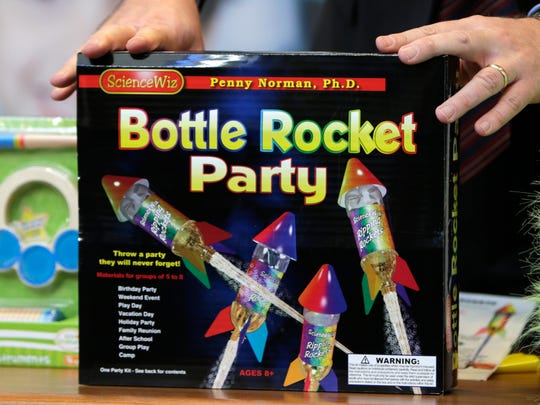 """Bottle Rocket Party"" made the annual list of worst toys, at Franciscan Hospital for Children in Boston. The consumer watchdog group has released its annual list of what it considers to be the 10 most unsafe toys as the holiday season approaches."