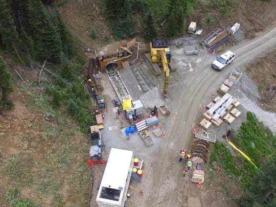 An aerial view of the entrance to a tunnel under construction near Cameron Pass. Fort Collins Utilities is building the water project.