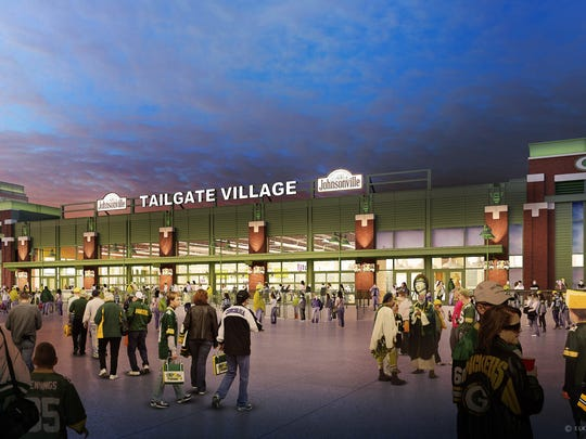 A rendering of the Johnsonville Tailgate Village, the permanent tailgating and event structure set to be constructed in Lambeau Field's east side parking lot in time for the 2017 football season.