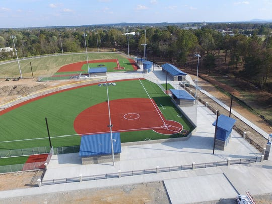 A file photo of the baseball and softball fields at McClain Park.