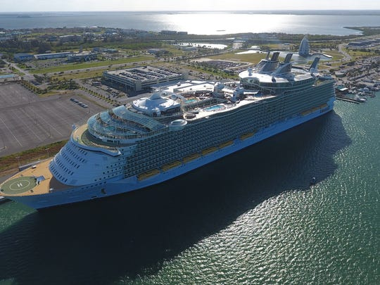 Royal Caribbean's Oasis of the Seas made its first appearance at Port Canaveral recently. The federal government committed to 50 years of beach renourishment to repair the erosion caused when the port's channel was dredged in the 1950s.