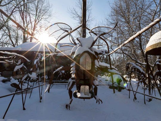 Jurustic Park is part art display, part storybook come to life and part comedy routine that's been in development for the last three decades, and is located at M222 Sugarbush Lane, Marshfield, Wis.