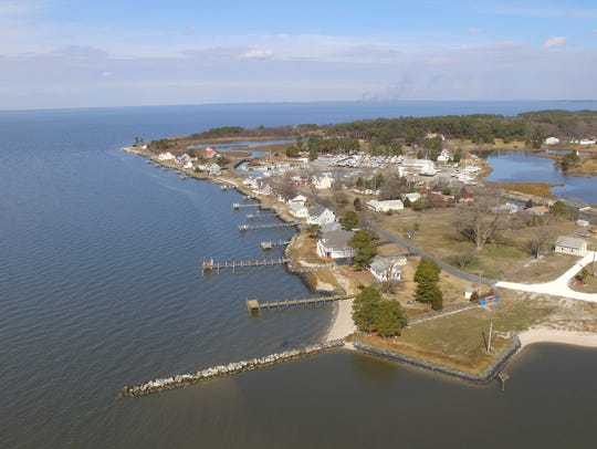 An aerial photo shows the Chesapeake Bay fishing village of Deal Island in Somerset County.