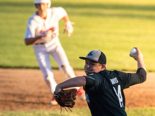 Plocver starter Dylan Davis delivers a pitch against Stevens Point early in their Wisconsin Valley Legion League matchup at Bukolt Park on Tuesday night.