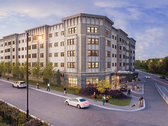 An artist's rendering of The Sheldon at Suffern Station, the upscale 92-unit rental property now under construction at 120 Orange Ave. in Suffern.