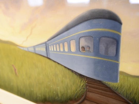 """A detail from Deirdre Gill's """"Trains Don't Sleep"""" on display at """"Draw me at Story - Tell me a Tale"""", an exhibition of Vermont children's books authors and illustrators at the Henry Sheldon Museum in Middlebury on Friday, August 25, 2017."""